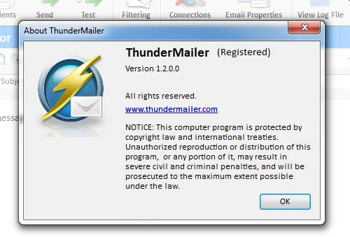 Registered version of Thunder Mailer