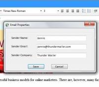 Sender email properties